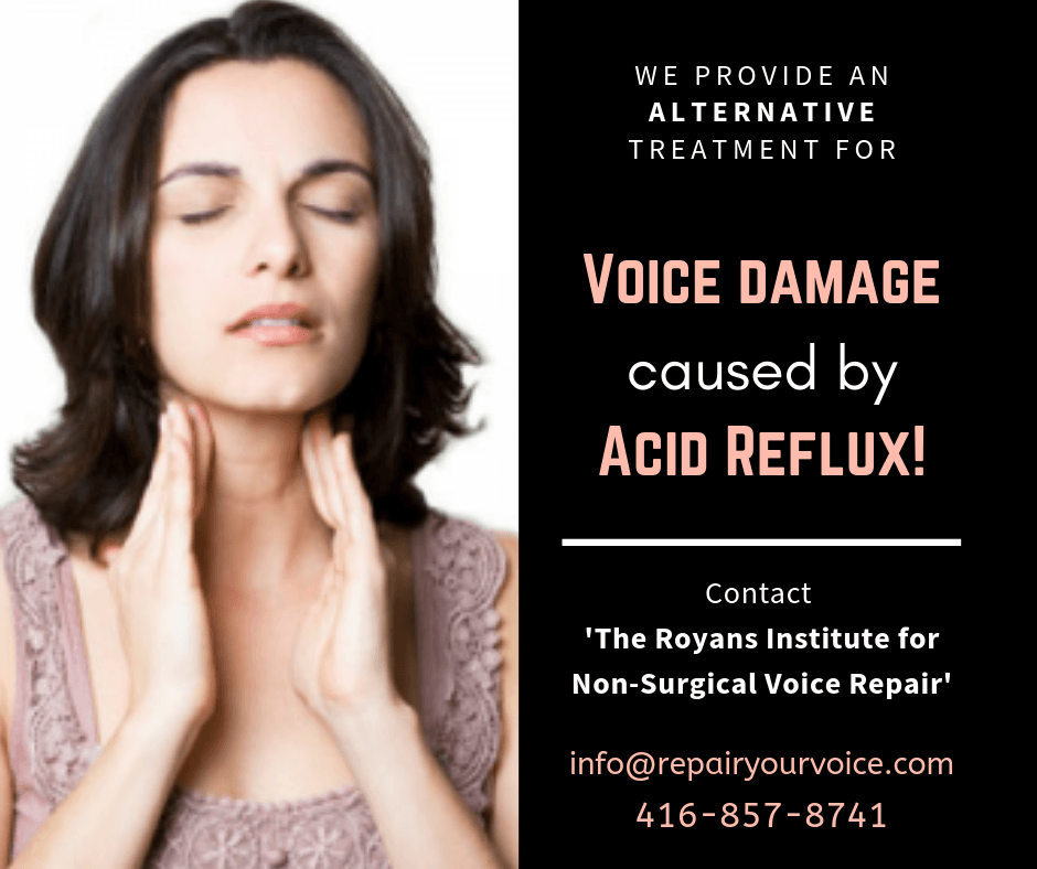 Natural and Alternative Treatment for Voice Damage caused by Acid Reflux
