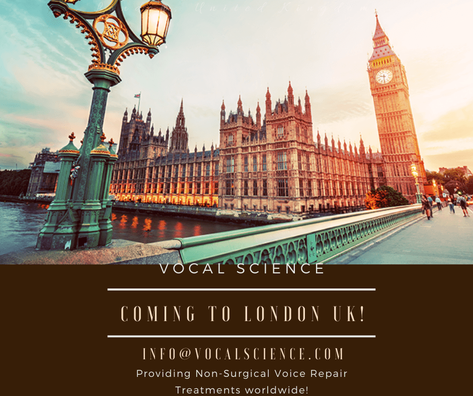 Voice Repair Treatment in London, UK – Nov 21st to Nov 26th, 2019!