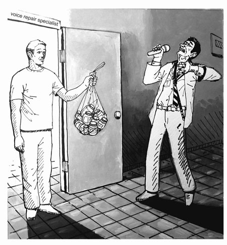 Man Holding Bag of Herbs (Illustration)